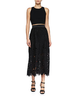 Sleeveless Crop Top & Lace Cutout Midi Party Skirt