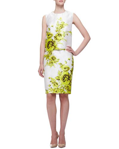 Floral-Print Boxy Sateen Top & Pencil Skirt
