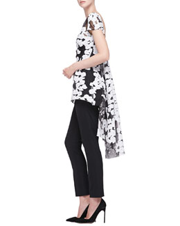 Short-Sleeve Watteau-Back Top & Catherine Straight-Leg Pants