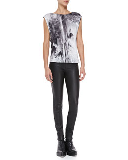 Helmut Lang Printed Cap-Sleeve Jersey Top & Stretch-Leather Skinny Pants