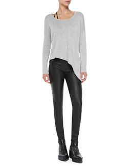 Helmut Lang Boat-Neck Asymmetric Knit Pullover, Asymmetric Jersey Bra Top & Stretch-Leather Skinny Pants