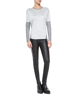 Helmut Lang Duet Two-Tone Slub Jersey Top & Stretch-Leather Skinny Pants
