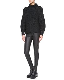 Helmut Lang Opacity Shimmery Knit Oversize Sweater & Stretch-Leather Skinny Pants