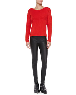 Helmut Lang Mixed-Rib Knit Pullover Sweater & Stretch-Leather Skinny Pants