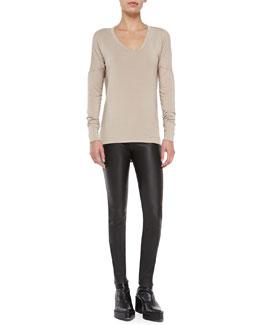 Helmut Lang Nova Drape-Back Jersey Top & Stretch-Leather Skinny Pants