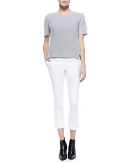 Short-Sleeve Silk/Merino Twofer Sweater & Bing Court Ankle Pants