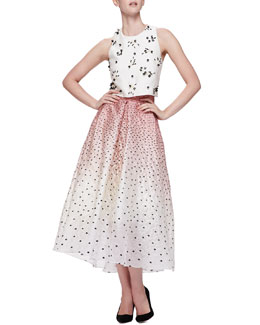 Bead-Applique Boxy Crop Top & Ombre Embroidered Polka-Dot Skirt