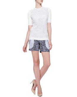 Tile-Knit Short-Sleeve Top & Seamed Front Pocket Shorts