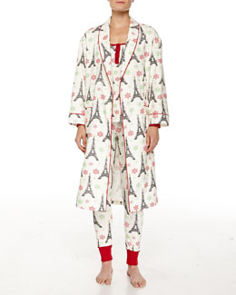 Holiday Eiffel Tower-Print Flannel Robe & Jersey Pajama Set