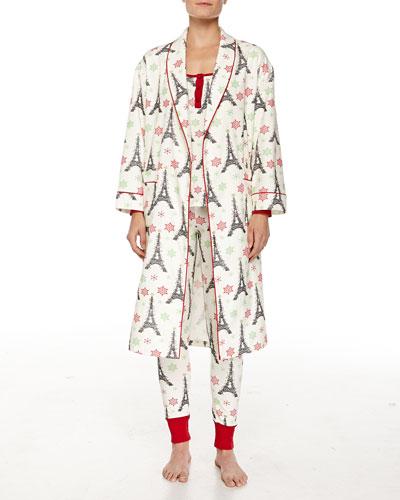 Holiday Eiffel Tower-Print Flannel Robe & Jersey Pajama Set