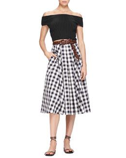 Off-The-Shoulder Crop Top & Macro Gingham Midi Skirt