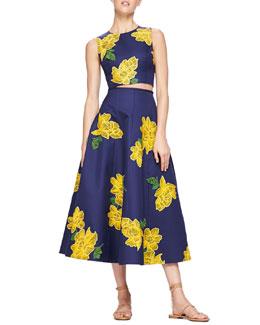 Dahlia-Print Sateen Crop Top & Embroidered Full Sateen Skirt