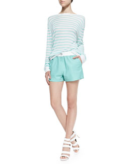 Long-Sleeve Striped Linen Tee & Matte Leather Shorts with Drawstring