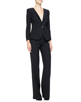 1-Button Sheer-Back Jacket & Side-Zip Techno Cady Pants