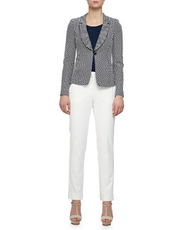 Oval Jacquard Single-Button Jacket & Stretch Cotton Wide-Cuffed Slim Pants