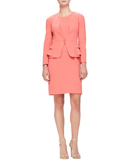 Layered-Peplum Crepe Jacket & Seamed Double Crepe Dress