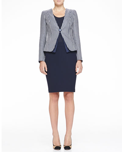 Collarless Geometric Jacquard Jacket, Stretch Jersey Tank & Double-Crepe Pencil Skirt