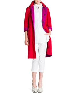 Lightweight Reversible Flap-Pocket Coat, One-Pocket Poplin Blouse & Tommy Flat-Front Cropped Pants