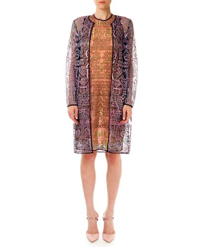 Sheer Glitter Letter-Print Long Cardigan & Dress