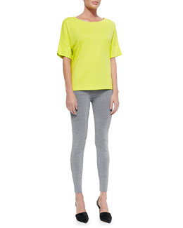 Short Dropped-Sleeve Tee & High-Waist Stretch Leggings