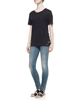 Poppy Slashed-Hem Slub Tee & Kim Mid-Rise Faded Slim Jeans