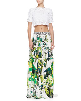 Zigzag Crochet Crop Top & St. Barth-Print Tiered Full Skirt