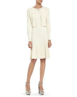 Pearl Viscose Crop Cardigan & Sleeveless Dress