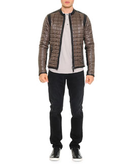 Quilted Jacket W/ Leather Trim & Short-Sleeve Henley T-Shirt