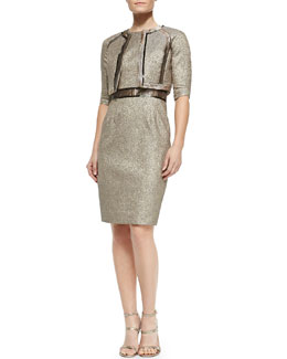 3/4-Sleeve Metallic Jacquard Bolero Jacket & Sleeveless Belt-Inset Sheath Cocktail Dress