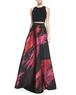 Sleeveless Crop Top & Paintbrush Stroke Ball Skirt