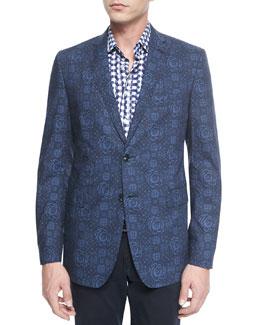 Floral-Print Two-Button Blazer & Long-Sleeve Geo-Dot-Print Sport Shirt