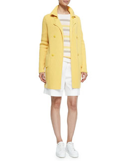 Double-Breasted Cashmere Sweater Coat, Cashmere Striped & Colorblock Multicolor Sweater & Stretch Cotton Twill Golf Shorts