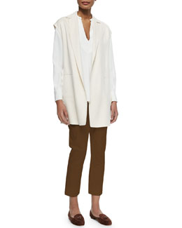 Cashmere Evan Double-Faced Vest, Debra Stretch-Silk Blouse & Giles Flat-Front Poplin Pants