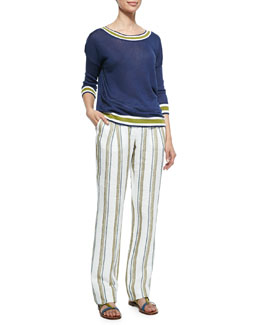 Linen Stripe-Trimmed Reversible Sweater & Larrie Linen-Blend Shadow-Striped Pants