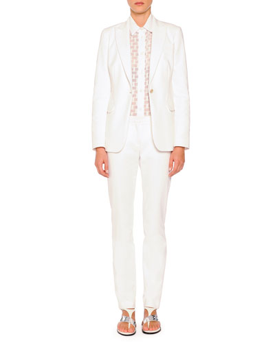 Techno Cotton Single-Button Blazer, Sheer Box-Textured Blouse & Cristina Flat-Front Skinny Pants