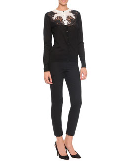 Dolce & Gabbana Bicolor Lace-Applique Silk Cardigan Sweater & High-Waist Stretch-Wool Pants