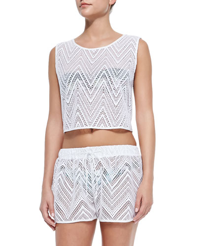See-Through Crochet Crop Top & Pull-On Crochet Shorts