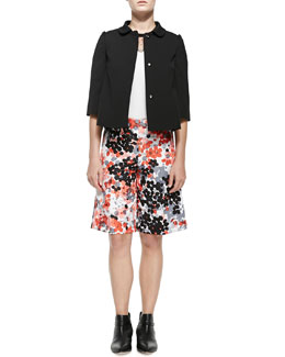 Button-Front Jacket W/ Half Sleeves, Tee W/ Point D'Esprit Neckline & Abstract Flower-Print Walking Shorts