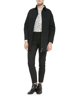 Mackintosh Anorak W/ Ruffled Hem, Long-Sleeve Blouse W/ Poem Print & Stretch Wool Skinny Pants