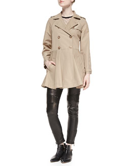 Double-Breasted A-line Skirt Trench Coat, Short-Sleeve D'Esprit Neckline Tee & Flat-Front Leather Moto Pants