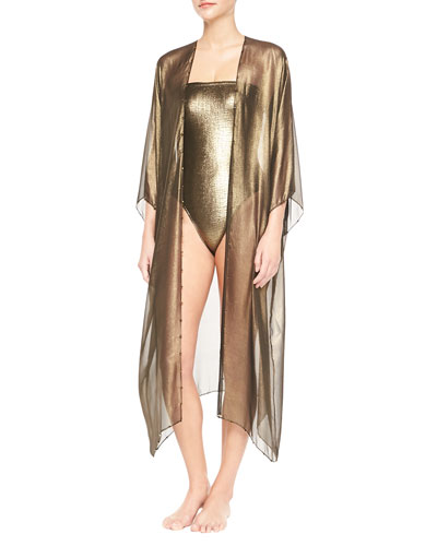 3/4-Sleeve Hand-Embroidered Babani Coverup & Rafia Metallic Bustier One-Piece Swimsuit
