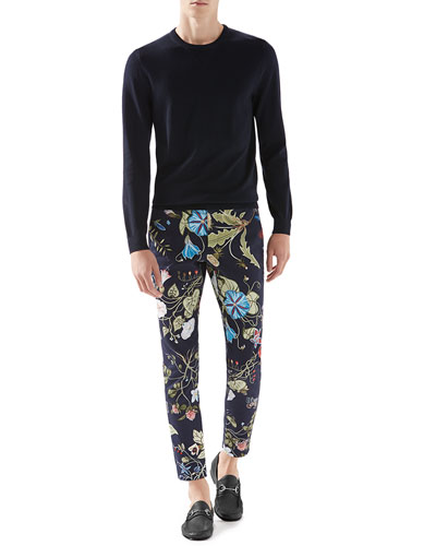 Wool-Cashmere Sweater with Leather Detail & Floral Knight Print Stretch-Gabardine Sport Pants