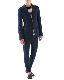 Cotton-Jersey Cardigan Jacket, Striped Knit Cotton Sweater & Cotton Tricotine Jersey Sharp Pants