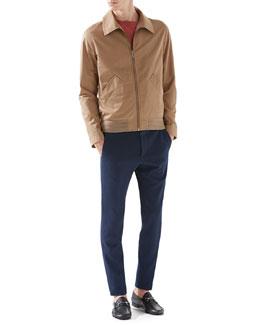 Classic Blouson Jacket, Cashmere Sweater & Cotton Tricotine Jersey Sharp Pants
