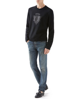 Jersey Tee with Leather Crest & Stonewashed Stretch-Denim Skinny Jeans