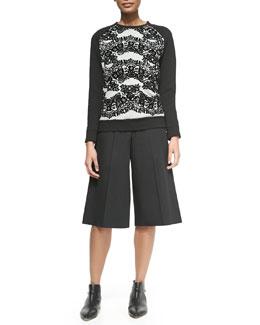Crewneck Floral Lace-Print Sweatshirt & High-Waist Gaucho Pants