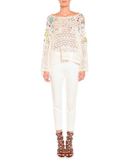 Poppy Rocks Embroidered Crochet Pullover & Clean-Front Capri Pants