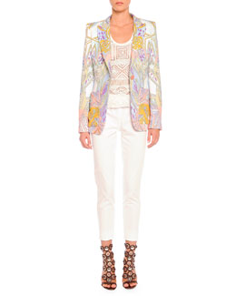 Wings and Stars Printed Blazer, Crochet Knit Tank Top & Clean-Front Capri Pants