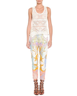 Crochet Knit Tank Top & Sateen Wings and Stars Printed Pants