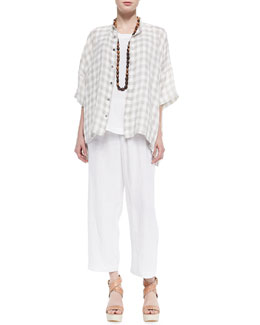 Collarless Check Linen-Blend Shirt, Sleeveless A-Line Shell, Coco Rajado Single Necklace & Linen Japanese Trousers